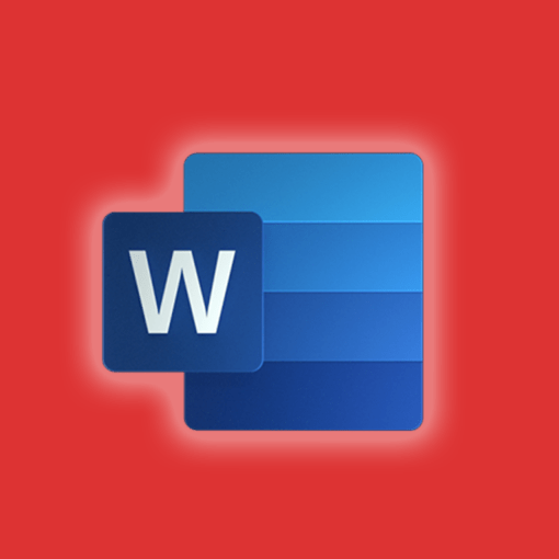 Microsoft word icon on an orange background
