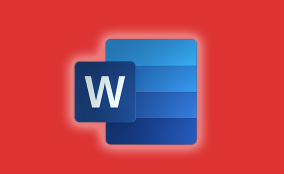 Microsoft word icon on an orange background