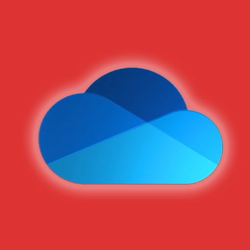 Microsoft onedrive icon on an orange background