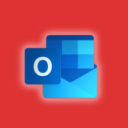 Microsoft outlook icon on an orange background
