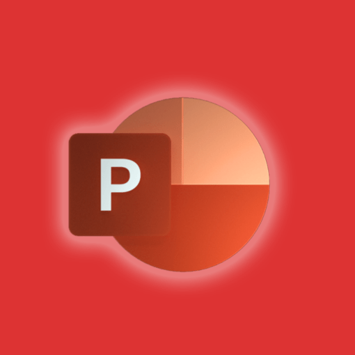 Microsoft Powerpoint icon on an orange background