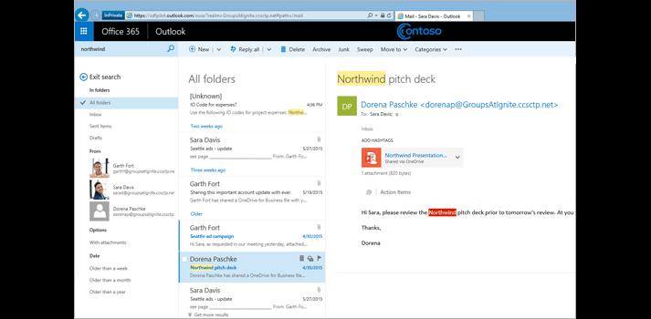Screenshot from Outlook online