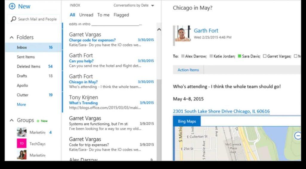 Screenshot of a mailbox