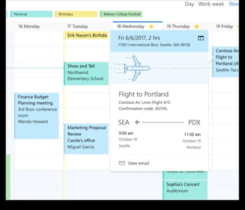 Calendar screenshot with an airplane on top