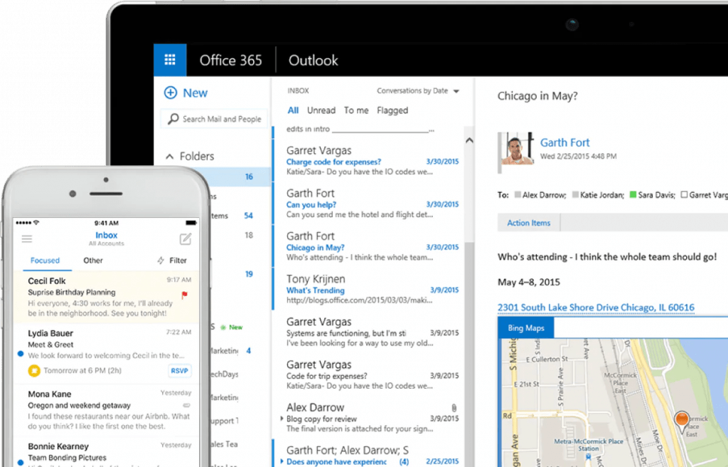 Exchange Online on both phone and workstation